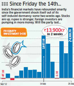 Stocks are up, rupee is stronger, and FIIs are pumping in money.