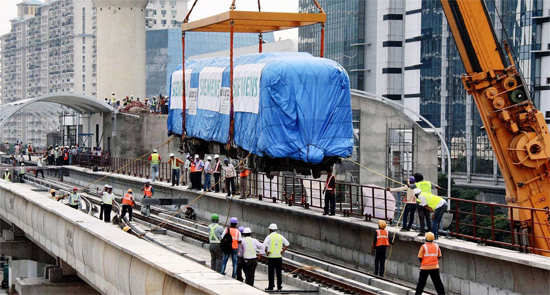 Rapid Metro rail coach in Gurgaon