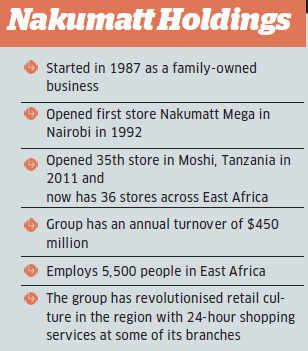 Today his group, Nakumatt Holdings, is the largest retailer across East Africa, and the Nakumatt Mega network has spread to 27 locations in Kenya and has expanded to Uganda, Rwanda, Burundi, Tanzania and South Sudan.
