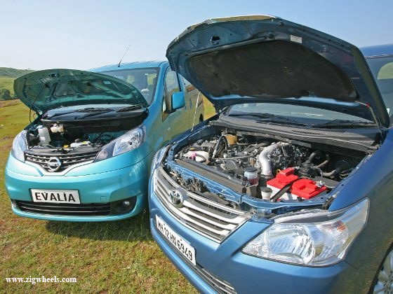 Nissan Evalia vs Toyota Innova engines