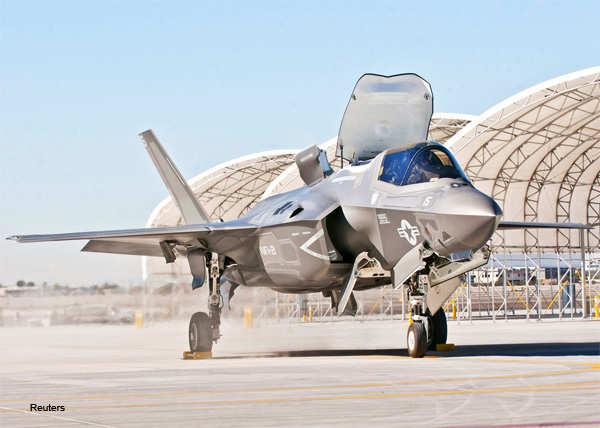 Third Marine Aircraft Wing's first F-35B taxis after arriving on the Marine Corps Air Station Yuma flightline, in Yuma