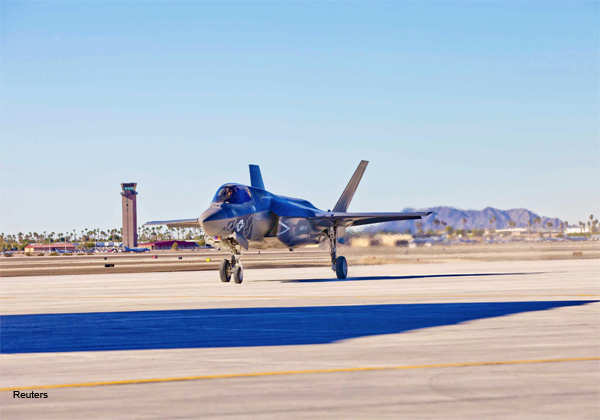 Yuma's second F-35B, BF-20, arrives at Marine Corps Air Station Yuma's flightline following the re-designation ceremony for Marine Fighter Attack Squadron 121, in Yuma