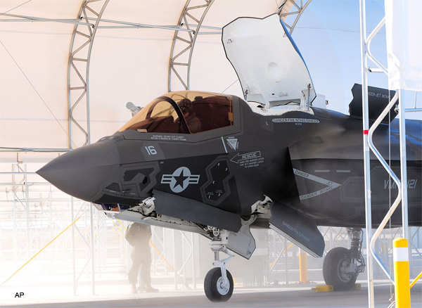 Dust flies as an F-35B fighter jet goes through its shut down procedures at Marine Corps Air Station in Yuma