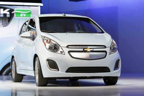 A 2013 Chevrolet Spark Electric Vehicle is pictured after being unveiled at the 2012 Los Angeles Auto Show. (Reuters photo)