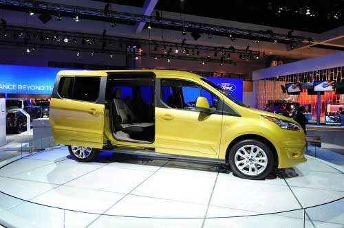 The new seven-passenger Ford Transit Connect Wagon is on display at the 2012 Los Angeles Auto Show in Los Angeles, California on media preview day, November 28, 2012. (AFP photo)