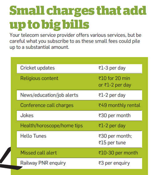 Small charges that add up to your bills