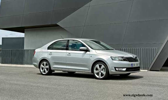 Front end displays a new take on Skoda-typical design elements