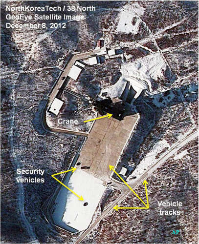 This Saturday December 8, 2012 satellite image provided by GeoEye and annotated by 38 North, shows recent activity at the Sohae rocket launching facility in Cholsan County, North Pyongan Province, North Korea. (AP)