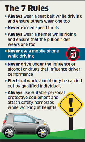 If you are a Vodafone employee, using a mobile phone while driving will earn an official reprimand from your employer over and above the traffic ticket. Any more violations of a list of seven absolute rules drawn up by Vodafone and you could lose your job.