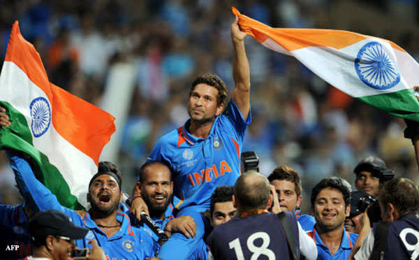 Sachin Tendulkar is carried on his teammates' shoulders after India defeated Sri Lanka in the ICC Cricket World Cup 2011 final