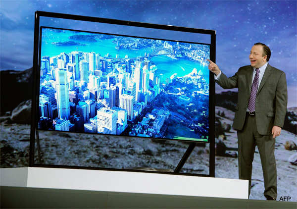Executive Vice President of Samsung Electronics America Joe Stinziano unveils Samsung's Ultra HDTV at a press event at the Mandalay Bay Convention Center for the 2013 International CES on January 7, 2013.