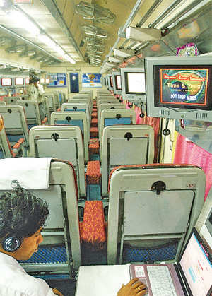 The Western Railway has added zing to travel by the Mumbai-Ahmedabad Shatabdi train by installing LCD TVs on board.