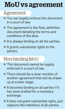 How a memorandum of understanding differs from an agreement