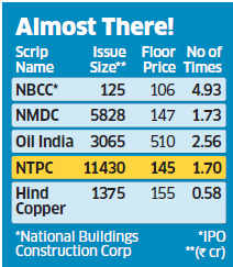 NTPC disinvestment: Offer subscribed 1.7 times, company rakes in Rs 11,430 crore