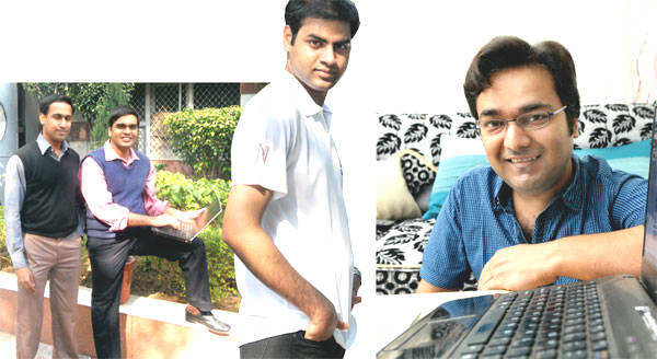 (From top left) Karthik Laxman and CS Krishna (right), founder members of The UnReal Times; Tanay Sukumar of News That Matters Not; and Rahul Roushan, founder editor, Faking News