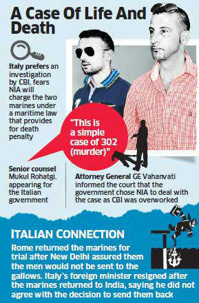 Italian marines case: Italy opposes govt's move to entrust case to NIA