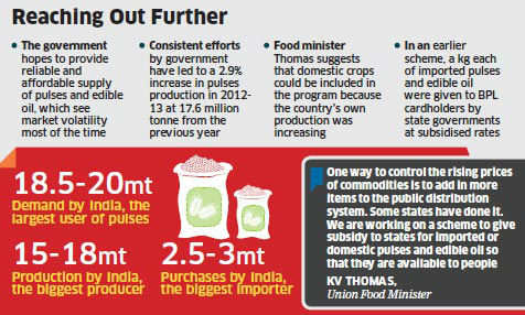 After the ambitious food security law, the UPA government is preparing another populist scheme to expand the supply of subsidised edible oil and pulses.