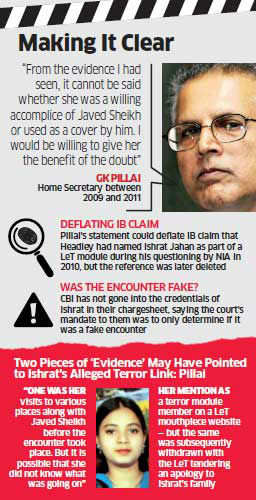 I'll give Ishrat benefit of doubt: GK Pillai, former home secretary