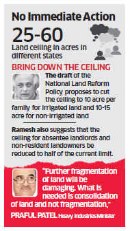 Centre won't push states for reducing land ceilings