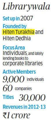 Librarywala.com, which was among the first online libraries in India and was founded in Mumbai in 2007 by Hiten Turakhia and Hiten Dedhia.