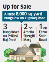 No buyers for Lutyens' Bungalows for fear of getting spotted by politicians looking for funds