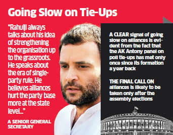 A clear signal of going slow on alliances is evident from the fact that the AK Antony panel on poll tie-ups has met only once since its formation a year back.