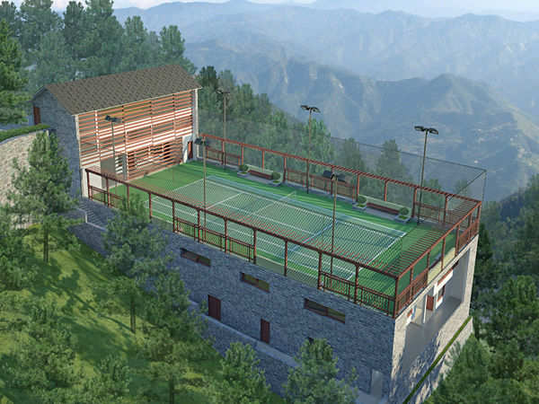 Luxury villas and clubhouse at The Woodside, Kasauli