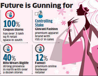 Future Lifestyle Fashions will buy out Bangalore-based garment chain Coupon, pick up controlling stake in New Delhi-based premium apparel brand Giovani Fashion.