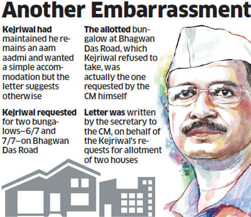Arvind Kejriwal asked for bungalows he had refused
