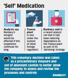 Ranbaxy suspends shipments of active ingredients from Toansa, Dewas plants