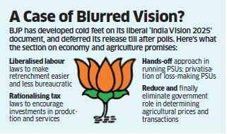 BJP puts off release of 'India Vision 2025' document until after polls, fears its liberal stance on economic issues