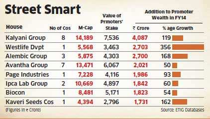 Promoter wealth of 25 mid-size companies surges by over Rs 1,000 crore on market rally