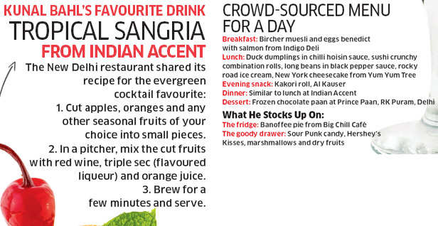 Kunal Bahl, founder-CEO of Snapdeal talks about his favourite restaurants & culinary cravings