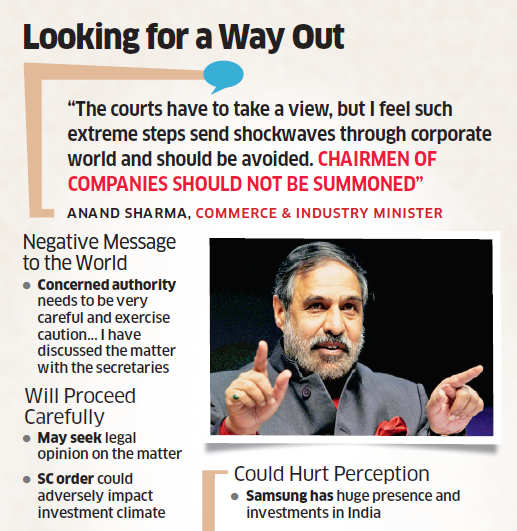 Anand Sharma goes into firefighting mode in Samsung case; government may seek legal opinion