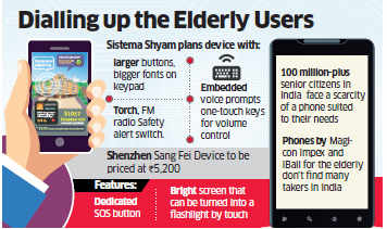 Mobile companies like Sistema, Shenzen Sang Fei plan to bring mobiles for senior citizens in India