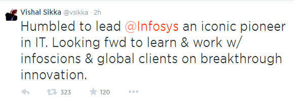 Tweet by Vishal Sikka
