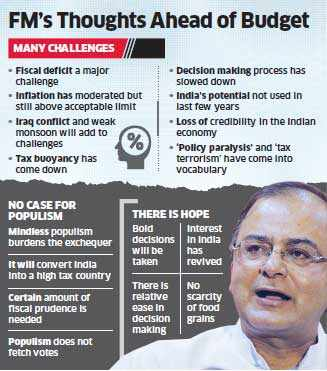 Budget 2014: Arun Jaitley for fiscal prudence over mindless populism