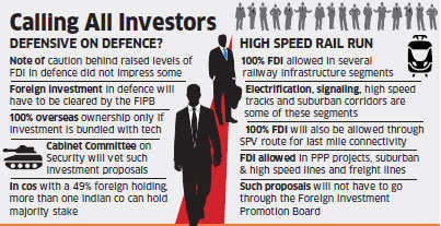 Cabinet approves raising FDI cap in defence to 49 per cent, opens up railways