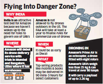 India to be launch pad for Amazon's plan to deliver packages using drones; deliveries may start by Diwali