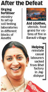 Union minister Smriti Irani working hard to win over Amethi