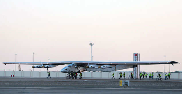 Solar-powered plane takes off for flight around the world