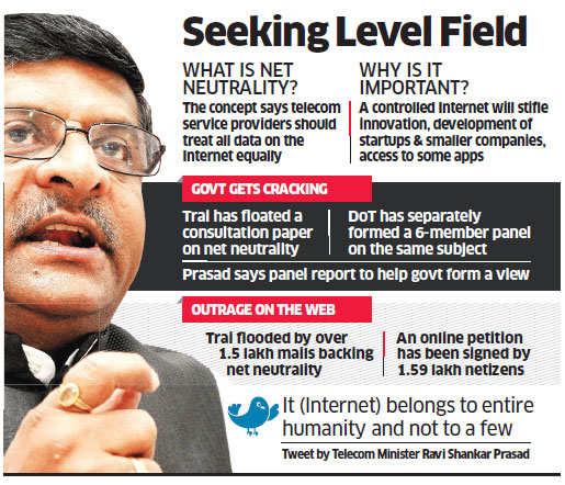 Telecom Minister Ravi Shankar Prasad bats for net neutrality; final decision to be taken by the DoT