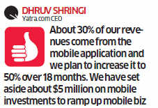 App seems a approach for transport portals like Yatra, MakeMyTrip, Expedia; trade outpaces that of websites