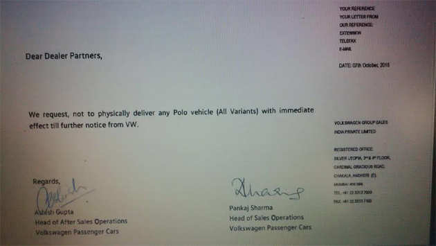 Letter to Volkswagen Dealers Picture