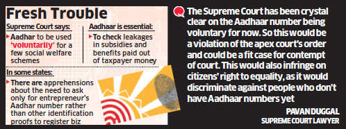 Modi government makes Aadhaar number compulsory for budding entrepreneurs to register new business