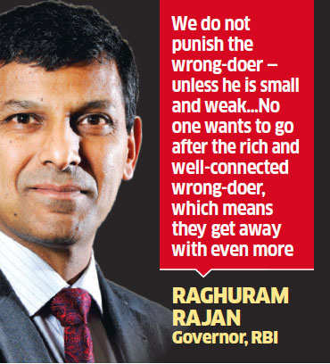 RBI Governor Raghuram Rajan wants employees to put even rich defaulters under the cosh