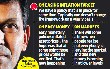 Raghuram Rajan rejects Arvind Panagariya's suggestion to ease inflation target; says central banks' easy money policy roiling world markets