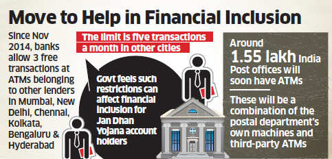 Government, RBI in talks to allow more free ATM transactions; move to help in financial inclusion