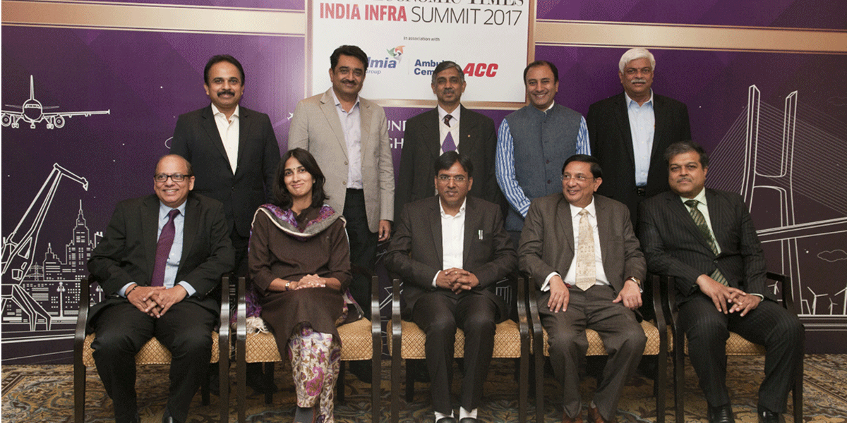 (Sitting: left to right) Rajiv Agarwal, CEO & MD, Essar Ports, Malavika Pillai, Portfolio Manager-Infrastructure & Natural Resources, Asia, IFC, Mansukh L Mandaviya, MoS for Road Transport & Highways, Shipping, Vinayak Chatterjee, Chairman, Feedback Infra and Kaushik Pal, CEO-Roads Business, Reliance Infrastructure; (standing: left to right) Anil Radhakrishnan, CEO-Adani Logistics, Satish Parakh, MD, Ashoka Buildcon, KV Praveen, Head of Construction — Roads, Runways and Elevated Corridors, L&T, Puneet Dalmia, MD, Dalmia Bharat Group, K Ramchand, MD, IL&FS