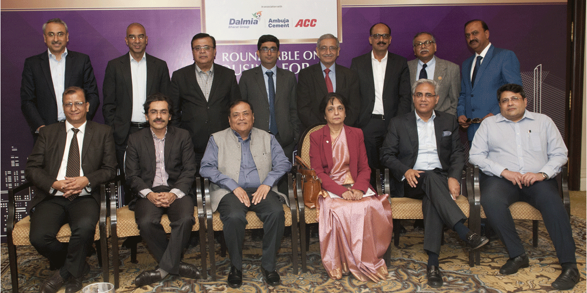 Sitting from left: Sanjay Joshi, Head, Affordable Housing HDFC; Pankaj Bajaj, MD, Eldeco Properties, Mahendra Singhi, Group CEO, Cement, Dalmia Bharat, Nandita Chatterjee, Secretary, Housing and Urban Poverty Alleviation, Getambar Anand, Chairman, ATS Infra/ATS Greens and Shrikant Paranjape, Chairman, Paranjape Schemes const; Standing from left : Sanjay Malhotra, CEO, Emaar India,   Akshay Sethi, MD, Stellar Housing, SD Gupta, Principal Financial Officer, International Finance Corp, Gourav Bhutani, CFO & Head Of Investments, Joyville Shapoorji Housing Pvt Ltd, SK Gupta, CMO, Ambuja Cement, Amit Bhagat, CEO, Ask Pvt Equity, Sanjaya Gupta, MD, PNB  and Manoj Gaur, MD, Gaursons India Ltd.